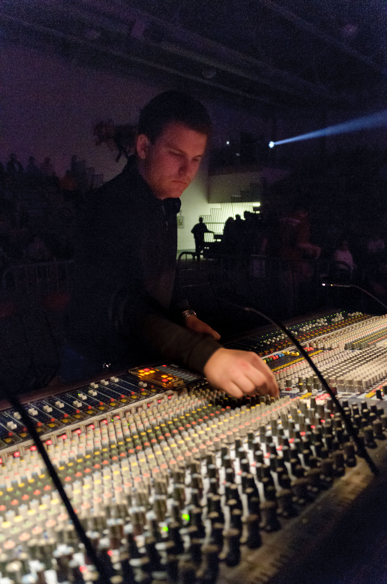 Front of House Sound Engineer Chris Diener mixing for Joe Nichols at Ferris State University